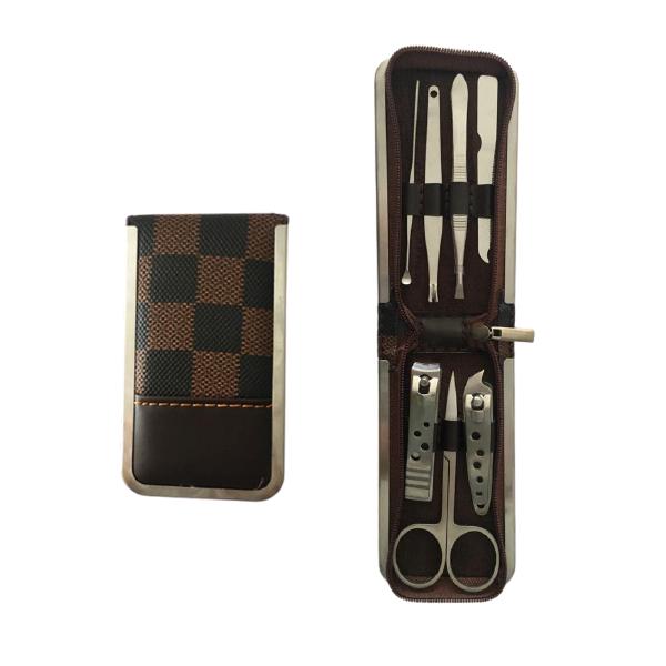 Kit Manicure para viagem em aço inoxidável 7 peças com um lindo estojo com Ziper