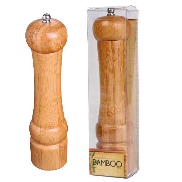 Moedor Sal Pimenta Condimento Em Aço Inox Bambu Ecológico MOR