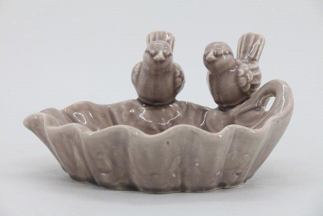 Comedouro em Cerâmica Prata 11x38