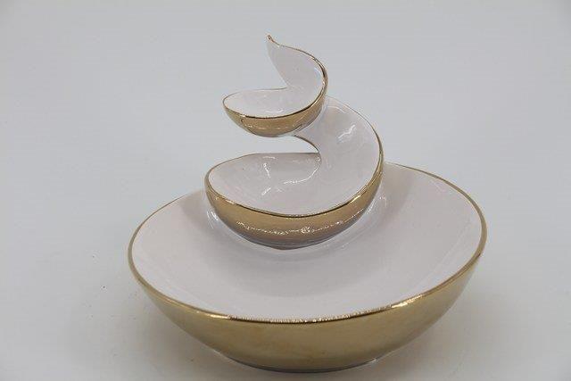 Petisqueira em Cerâmica Dourada P0491 16x22