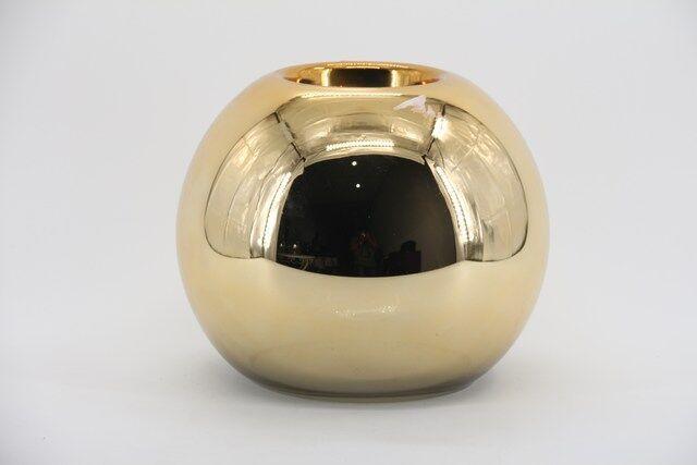 Castiçal Decorativo em Vidro Dourado 20 X 10 - G1341