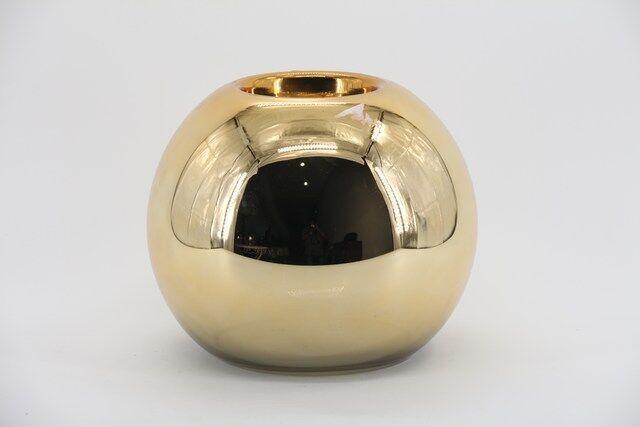 Castiçal Decorativo em Vidro Dourado 20 X 13 - G1339