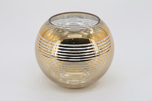 Castiçal  Decorativo em Vidro Dourado 25 X 15 - G1333