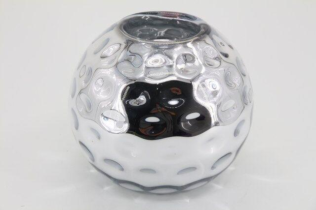 Castiçal  Decorativo em Vidro Redondo Prata 9 X 10 - G1328