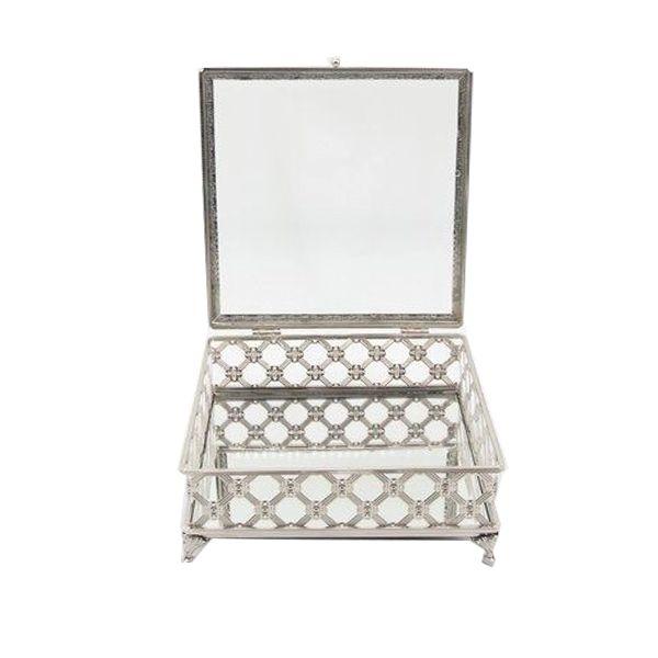 Porta Jóias decorativo em vidro 9 x 22 x 22 - M1072