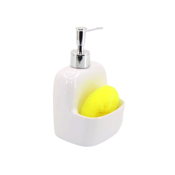 Porta Sabonete Líquido Branco Em Cerâmica Com Esponja