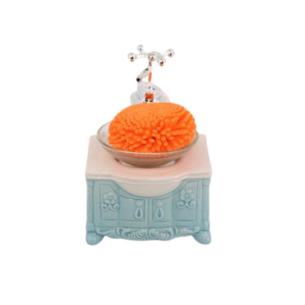 Porta Sabonete Líquido Em Cerâmica Com Esponja