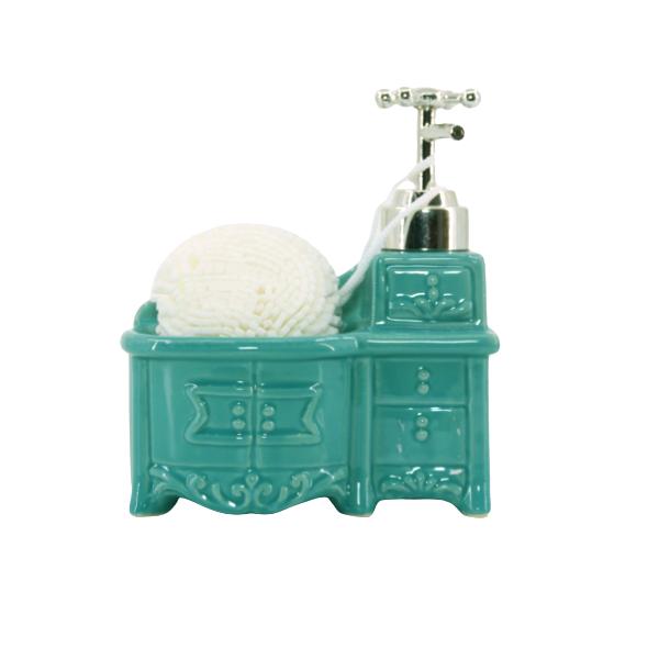 Porta Sabonete Líquido Em Cerâmica Com Esponja - L1224V