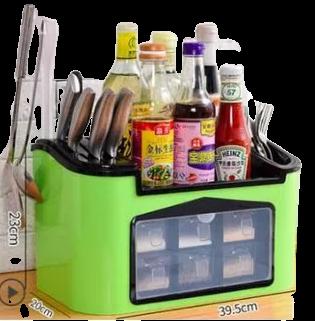 Organizador de Porta talheres e condimentos Temperos em plástico 2 em 1