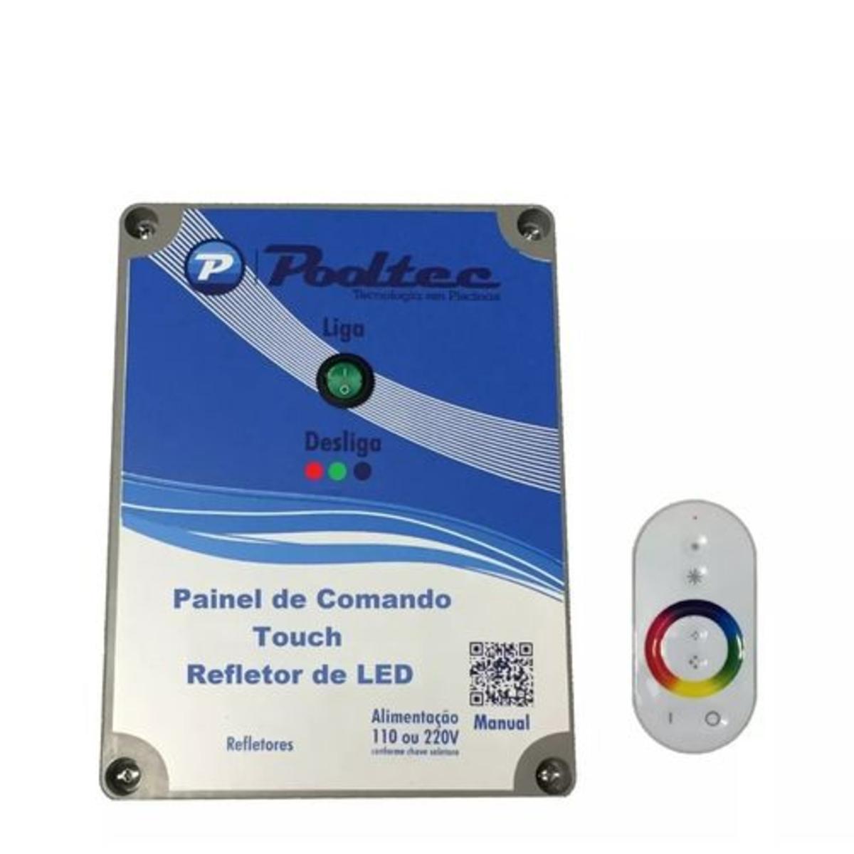 Quadro de Comando com Controle Touch Modelo c Tensão 110 / 220V para leds de Piscina pooltec