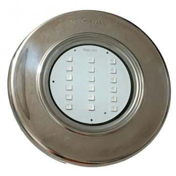 "Refletor Steel Led Smd Monocromático Branco  18 Inox Rosca 1/2"" Pooltec"