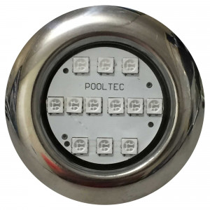 "Refletor Steel Led SMD RGB 12 MINI Inox Rosca 1/2"" - Pooltec"