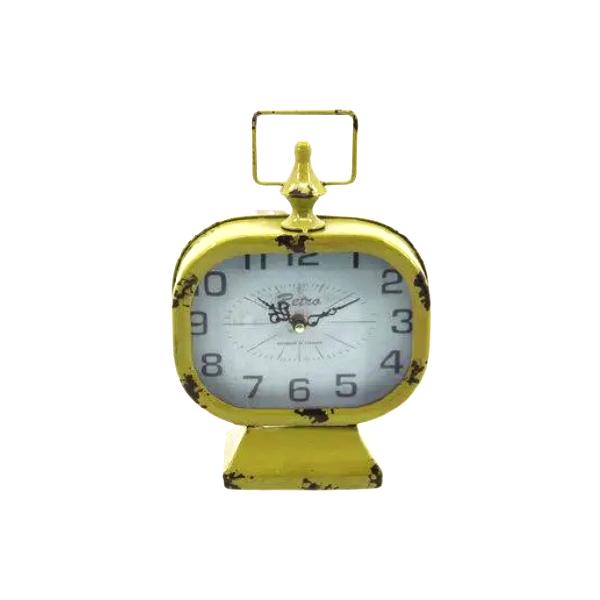 Relógio  de Mesa em Metal  Decorativo Amarelo 27 x 25 - F392