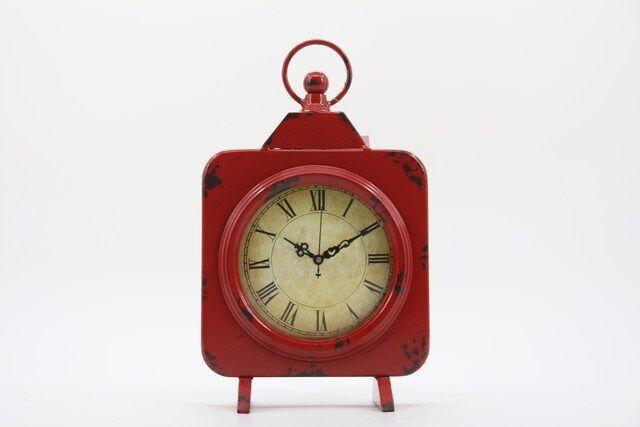 Relógio  de Mesa em Metal  Decorativo Vermelho 31 x 19 - F393