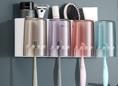 Suporte de Parede Porta escovas de Dentes Ecoco em Plástico Com espaço para pastas pentes e barbeadores