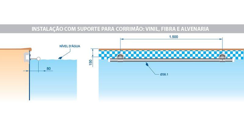 Suporte Para Corrimão em ABS e Latão Cromado - Sodramar
