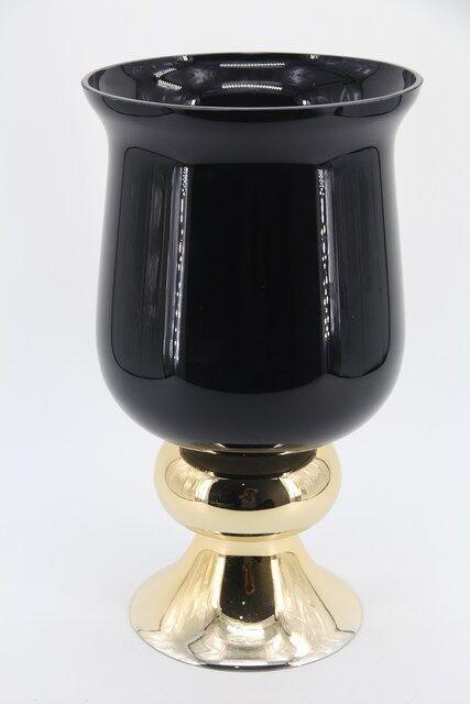 Vaso Decorativo em Vidro Lindo Design Preto e Dourado 41 x 23 - G1318