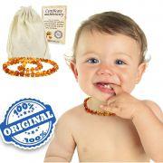 Colar Âmbar Báltico Dentição Infantil 32 Cm Certificado - Mel escuro