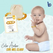 Pulseira  Âmbar Báltico Dentição Infantil Certificado - Mel