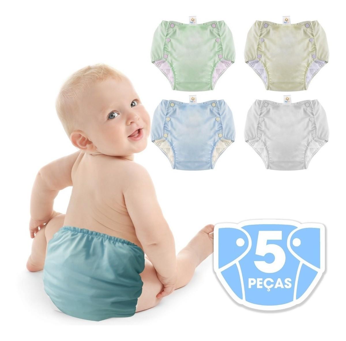Bebê Fralda Enxuta Reutilizável Calça Plástica Ecológica kit menino