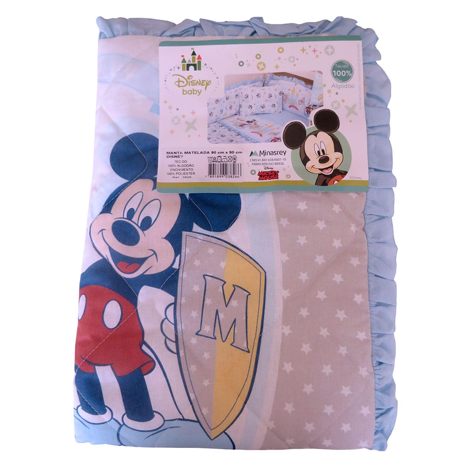 Bebê Manta Matelada Recém Nascido Enxoval Disney Cobertor - Mickey