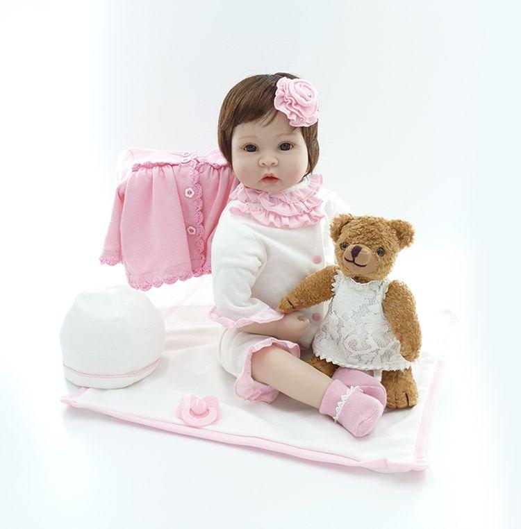Bebê Reborn Boneca Realista Silicone 55cm