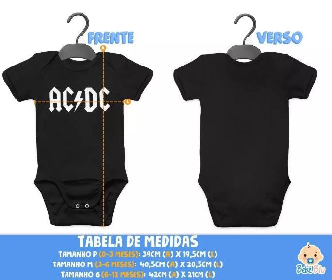 Body Acdc Bebê Banda Metal Rock Roupinha Infantil