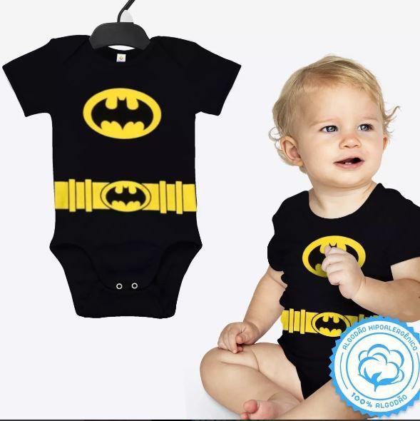 Body Batman Bebê Dc Fantasia Pijama Festa Carnaval Infantil