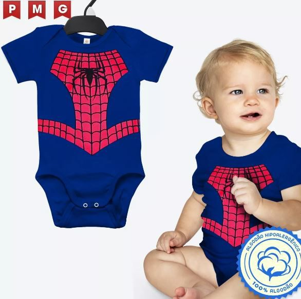 Body Homem Aranha Bebê Fantasia Festa Carnaval Infantil