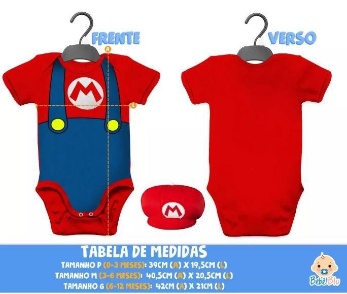 Body Mario Bros Bebê +boina Conjunto Fantasia Carnaval