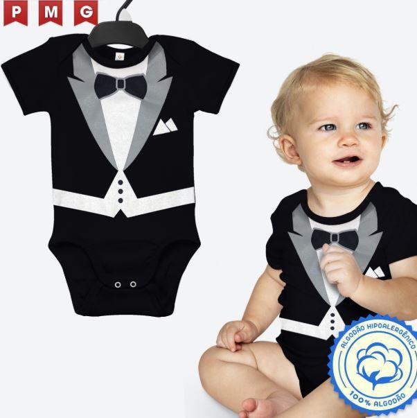 Body Poderoso Chefinho Bebê Terno Social Smoking Aniversário