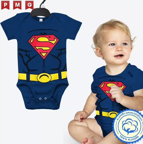 Body Superman Bebê Super Homem Fantasia Festa Carnaval Clark