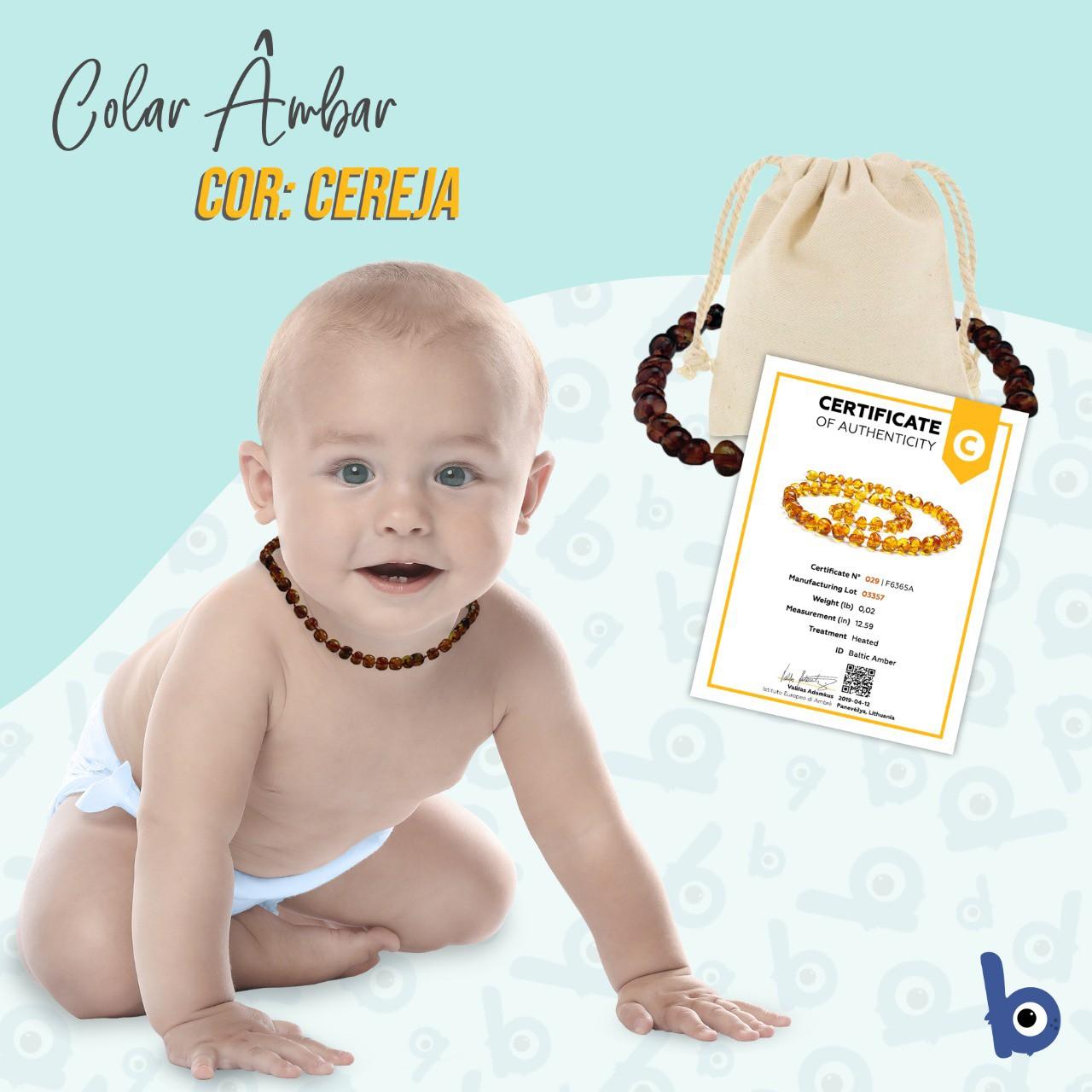 Colar Âmbar Báltico Dentição Infantil 32 Cm Certificado - Cereja