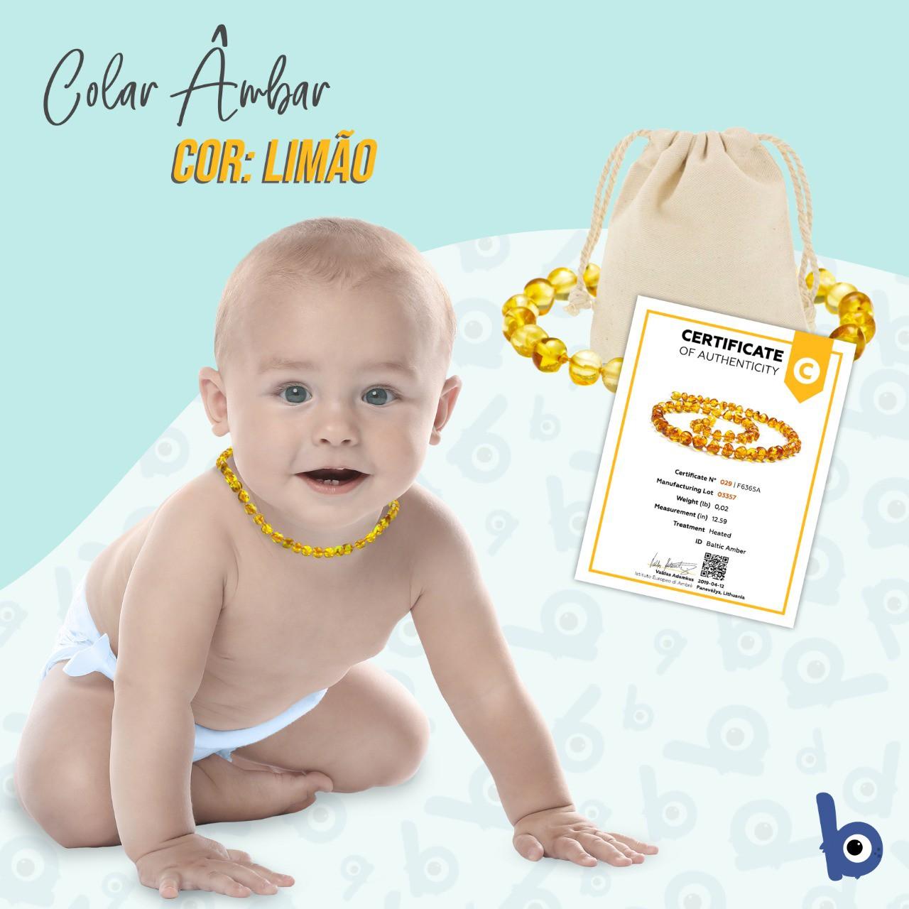 Colar Âmbar Báltico Dentição Infantil 32 Cm Certificado - Limão