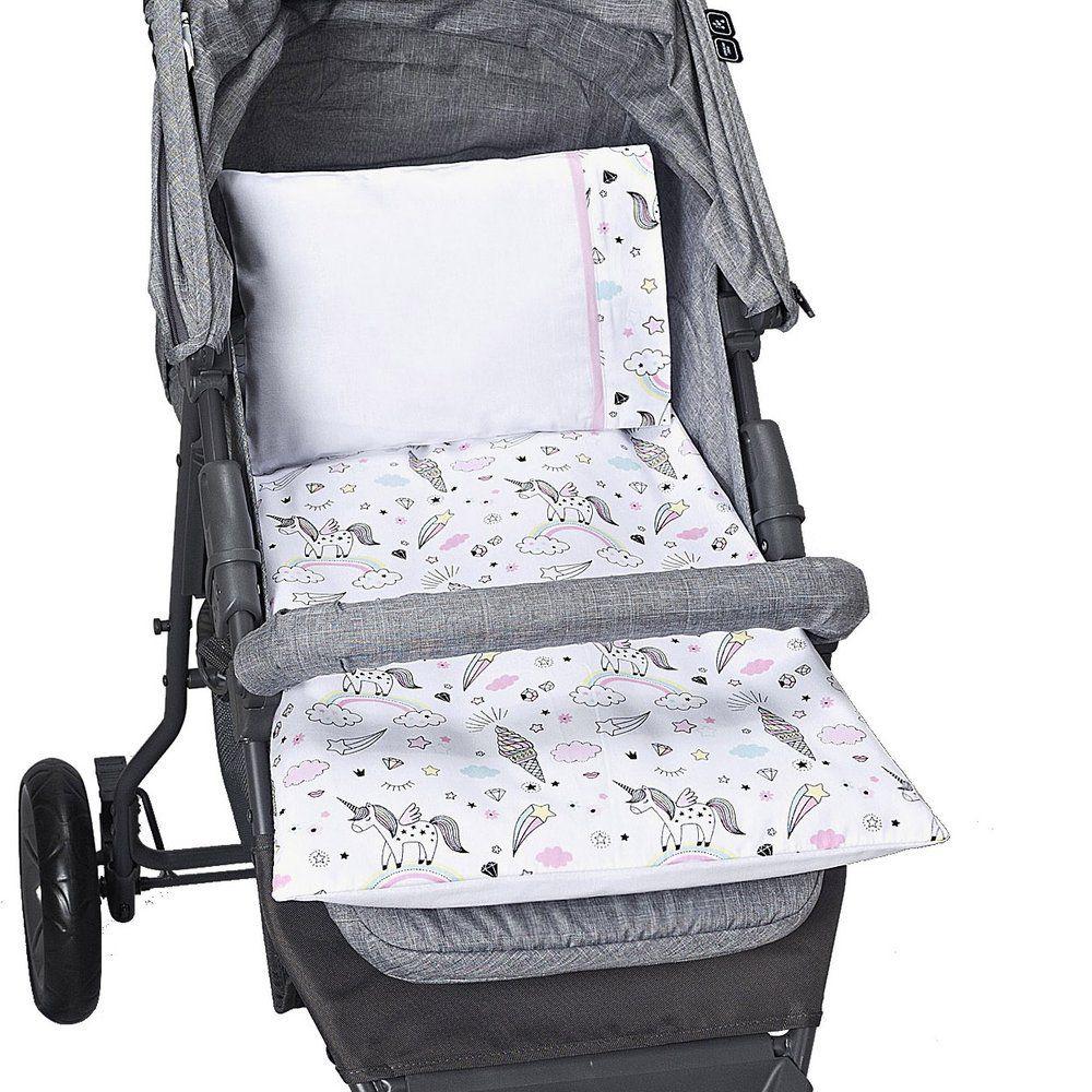 Colchonete Para Carrinho de bebê Estampado Unicórnio - 4 peças