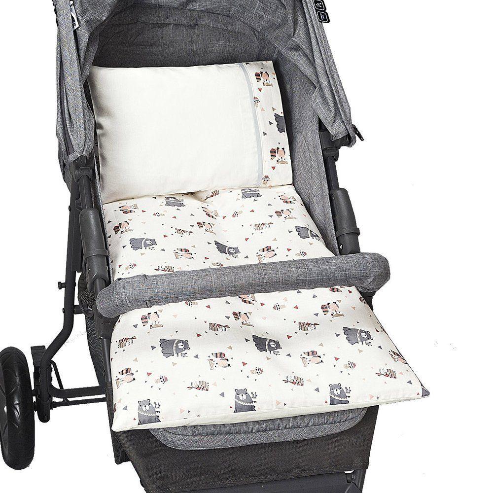Colchonete Para Carrinho de bebê Estampado Ursinho Bege - 4 peças