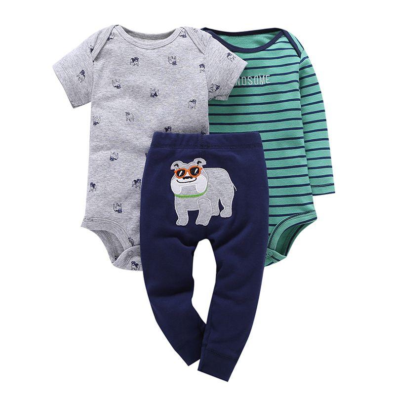 Conjunto 3pçs calça body manga curta e longa - Bulldog