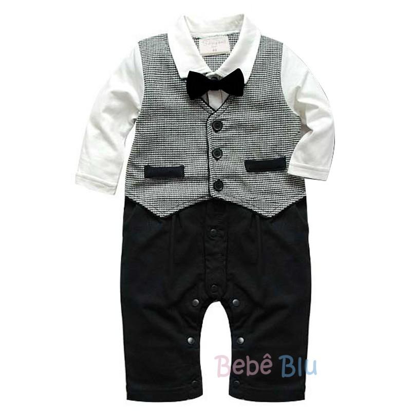 Macacão Terno Bebê Colete com gravata Borboleta