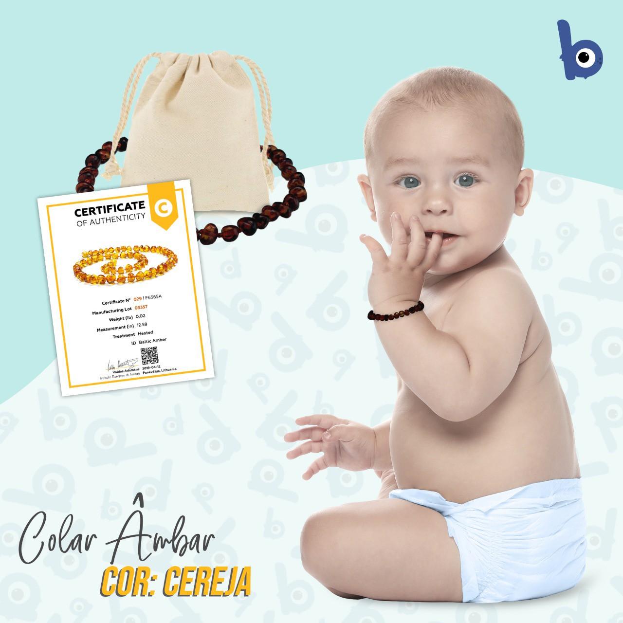 Pulseira  Âmbar Báltico Dentição Infantil Certificado - Cereja