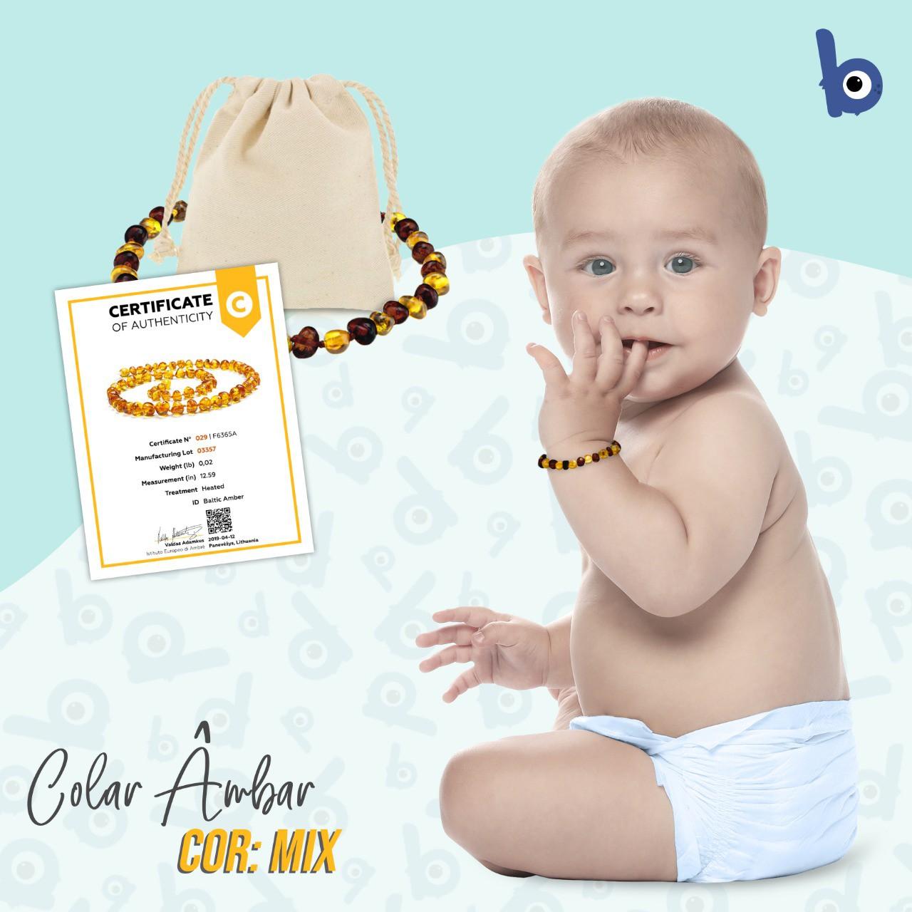 Pulseira  Âmbar Báltico Dentição Infantil Certificado - Mix