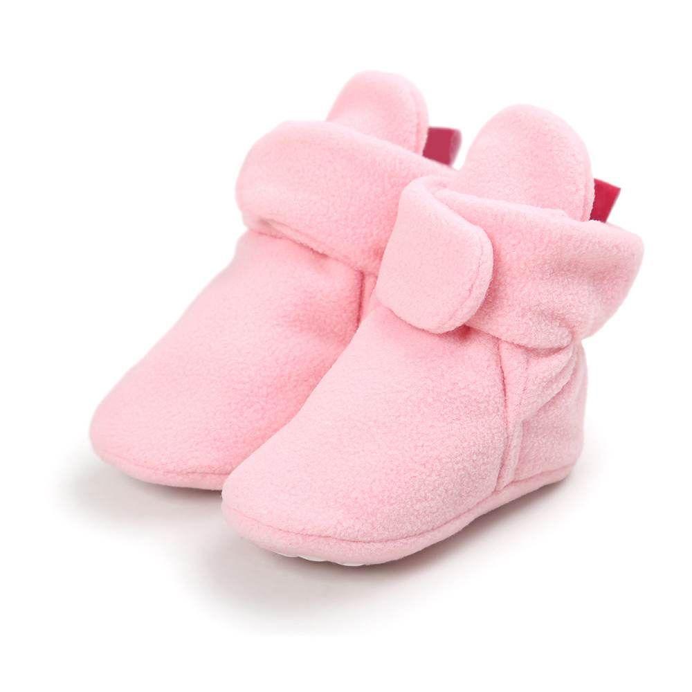 Sapatinho Pantufa Quentinha Enxoval bebê Inverno - Rosa claro
