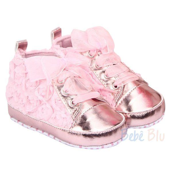 Tênis sapatinho bebê menina fita cetim rosa flores