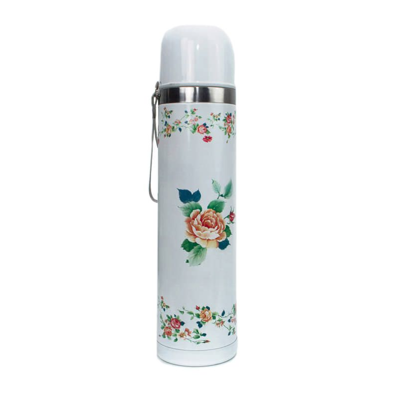 Garrafa Térmica para Chimarrão Inox | Flores 1 litro