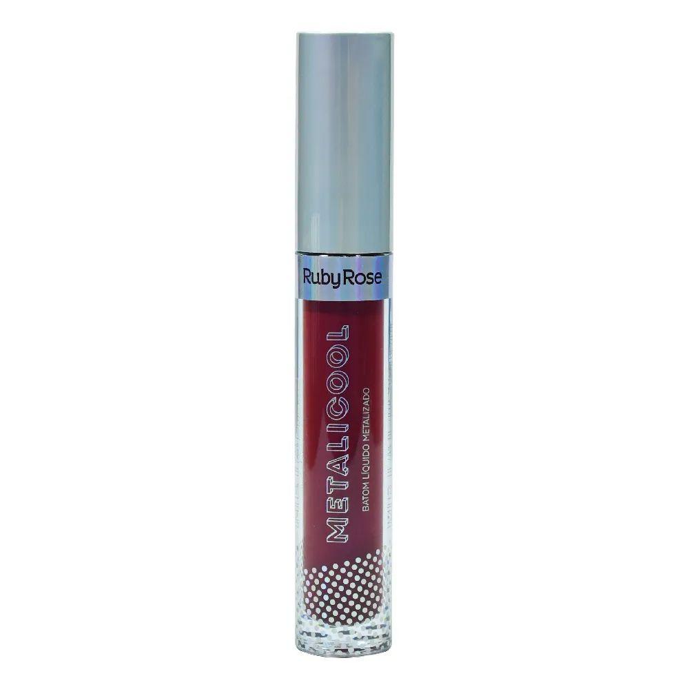 Batom Líquido Metalicool Vinho Metalizado Ruby Rose HB-8219 Cor 061
