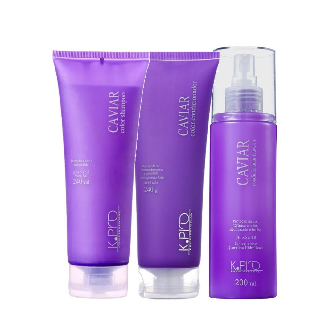 Kit Caviar Colors K.Pro Shampoo, Condicionador e Leave-in