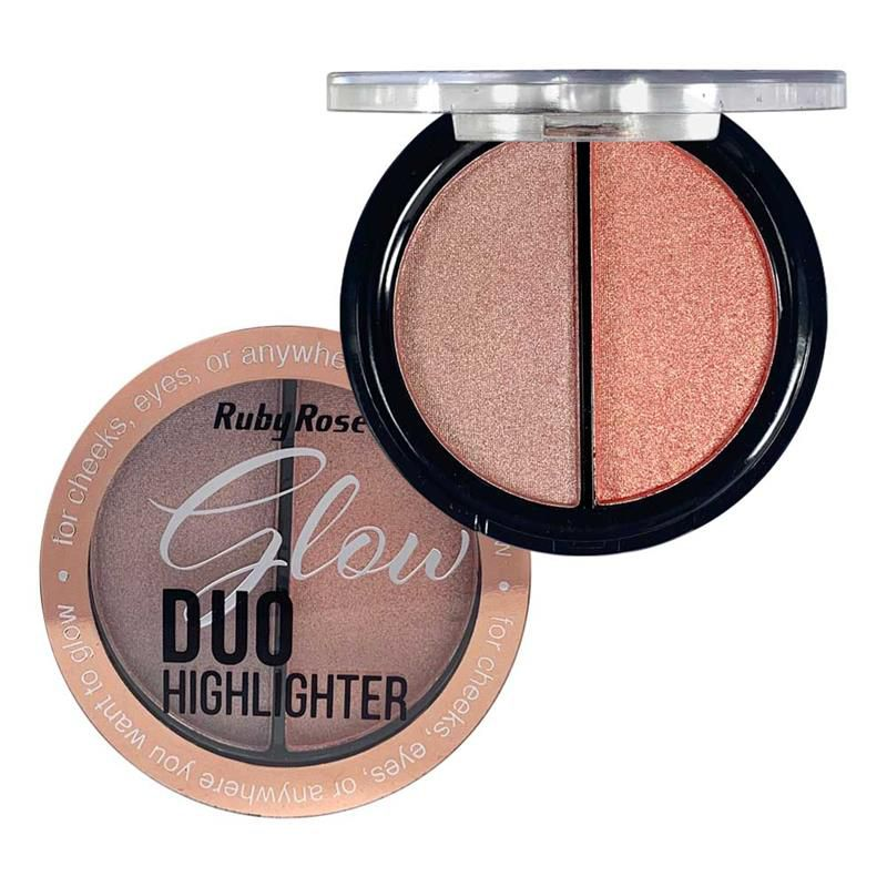 Iluminador Glow Duo Highlighter Ruby Rose HB-7522 Cor 3