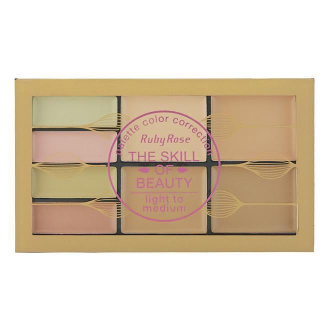 Paleta Corretivo The Skill of Beauty Light & Medium Ruby Rose HB-8097