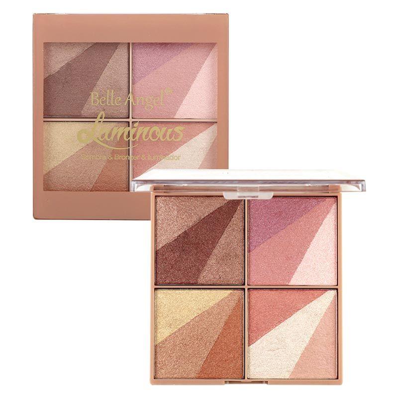 Paleta Quarteto de Sombra, Bronzer e Iluminador Belle Angel T027