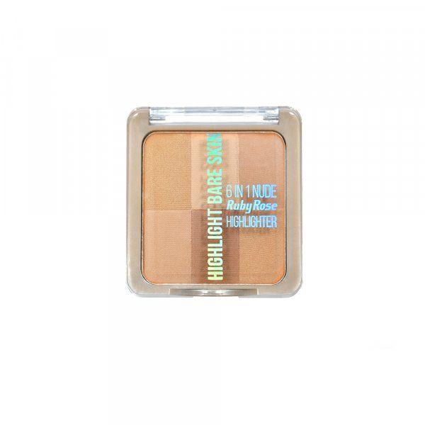Pó Iluminador Ruby Rose Bare Skin 6 em 1 HB-7214 Cor 2