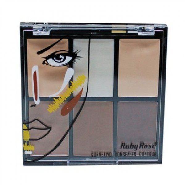 Ruby Rose Corretivo Concealer Contour 6 Cores 11.4g HB-8088 - Fair